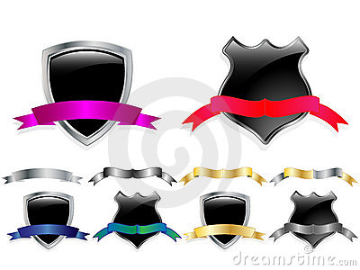 Vector glossy shields set