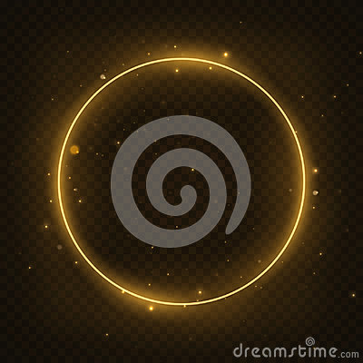 Free Vector Glowing Magic Circle Frame. Glowing Neon Fire Ring Wave. Glitter Sparkle Swirl Trail Effect On Dark Transparent Background Royalty Free Stock Image - 95004346
