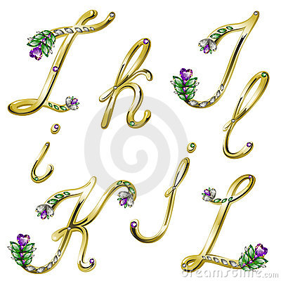 Free Vector Gold Alphabet With Gems Letters I,J,K,L Royalty Free Stock Photography - 18521917