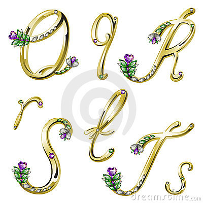 Free Vector Gold Alphabet With Gems Letters Q,R,S,T Royalty Free Stock Photos - 18522038