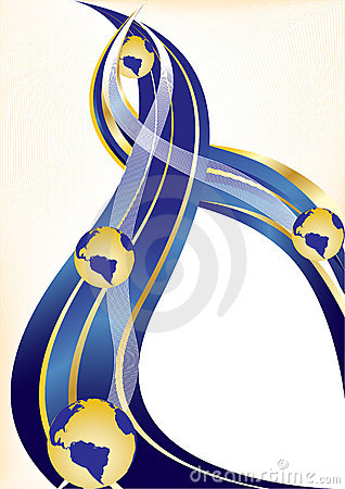Vector gold and blue background with globe