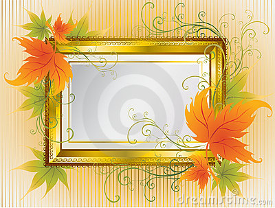 Vector gold frame with Autumn Leafs. Thanksgiving
