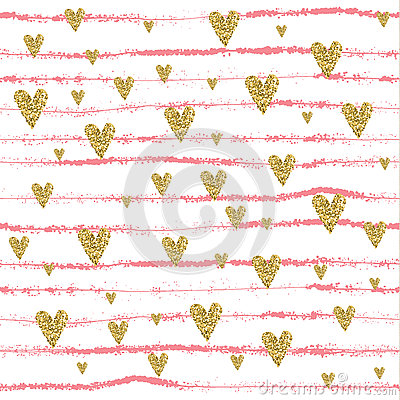Free Vector Gold Glittering Heart Seamless Pattern Royalty Free Stock Photo - 72307105