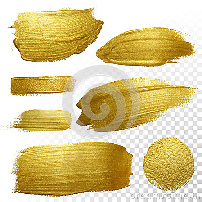 Free Vector Gold Paint Smear Stroke Stain Set. Stock Photo - 63432910