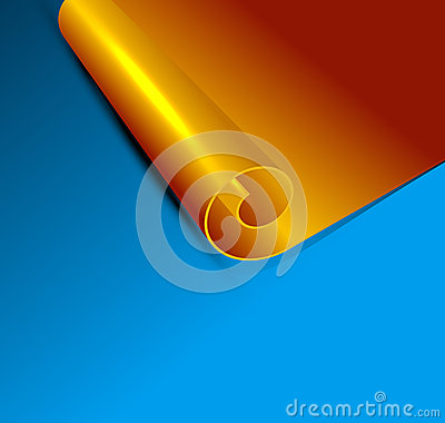 Vector gold scroll on a blue background