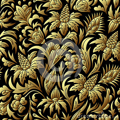 Vector gold seamless pattern, floral texture. Stock Photo