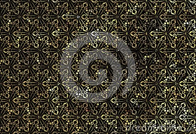Golden lace ornament on a black background Stock Photo