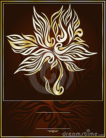 Vector gold tree in an elegant brown background