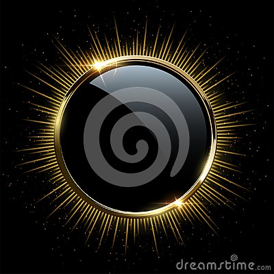 Free Vector Golden Frame.Golden Sparkling Ring With Rays Isolated On Black Background. Royalty Free Stock Photos - 122043228