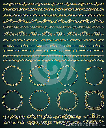 Free Vector Golden Hand Sketched Seamless Borders Royalty Free Stock Photos - 57826868