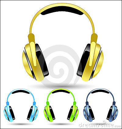 Vector Golden Headphones