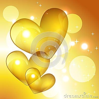 Vector golden heart