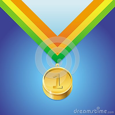 Vector golden medal with number first