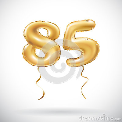 Free Vector Golden Number 85 Eighty Five Metallic Balloon. Party Decoration Golden Balloons. Anniversary Sign For Happy Holiday, Celebr Stock Photos - 97800873