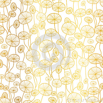 Vector golden white underwater seaweed plant texture drawing seamless pattern background. Great for subtle, botanical Vector Illustration