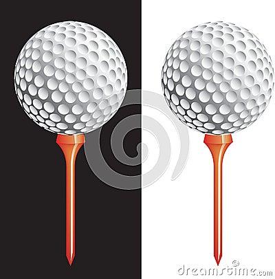 golf ball vector. VECTOR GOLF BALL ON TEE (click