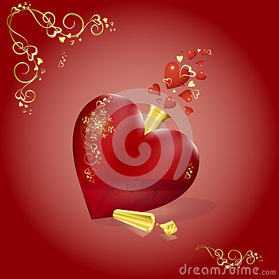 Free Vector Gorgeous Bottle In The Shape Of A Red Heart With Gold Pattern And Stopper. Fluttering Hearts, Love Magic. Valentine`s Day C Royalty Free Stock Image - 80810446