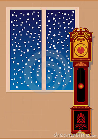 Vector grandfather clock with ornaments