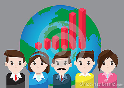 Vector graph business for teamwork success Vector Illustration
