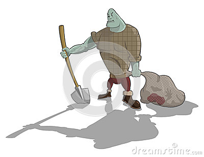 Vector gravedigger with shovel and sack