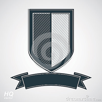 Free Vector Grayscale Defense Shield With Curvy Ribbon, Protection Design Graphic Element. Stock Image - 66158801