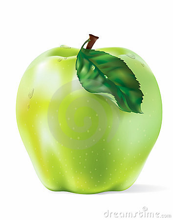 Vector Green Apple With Drops Isolated