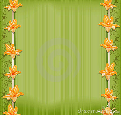 Vector green background  with border lilies