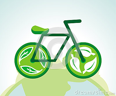 Vector green bicycle with recycle signs