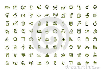 Vector green eco icons set
