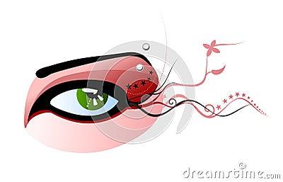 Vector green eye and pierced eyebrow