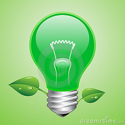 Vector green lightbulb
