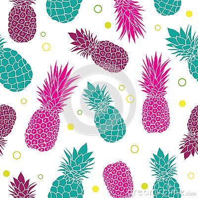 Free Vector Green Pink Pineapples Summer Colorful Tropical Seamless Pattern Background. Great As A Textile Print, Party Stock Photos - 110493583