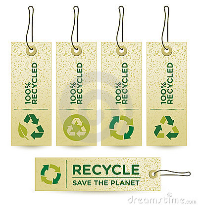 Free Vector GREEN RECYCLED Labels Royalty Free Stock Images - 9543519