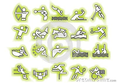 Vector green sports symbols