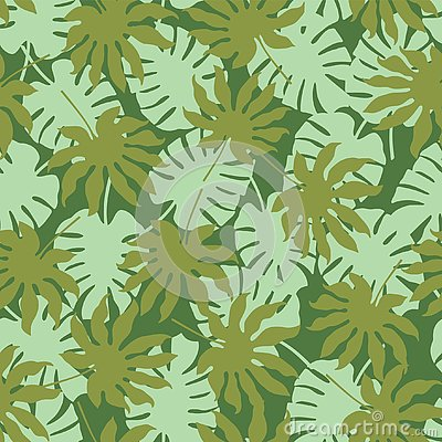 Vector green tropical leaves seamless pattern background Vector Illustration
