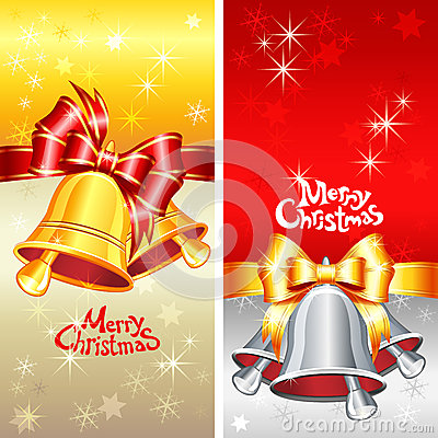 Vector greeting card with Christmas bells, bow and