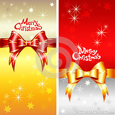 Vector greeting card with Christmas ribbons, bow a
