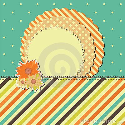 Vector greeting retro card with frame and flower