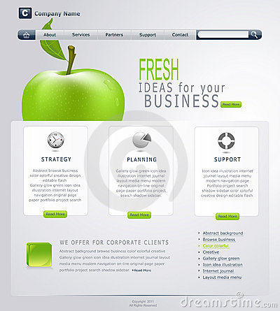 Free Vector Grey-green Website With Apple Royalty Free Stock Photos - 17300678