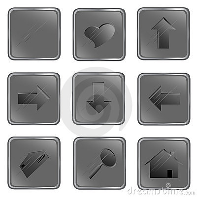 Vector grey square web buttons
