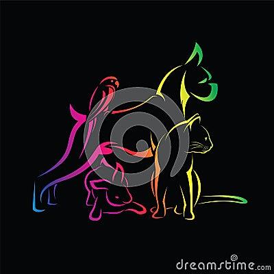 Free Vector Group Of Pets - Dog, Cat, Bird, Rabbi. Stock Photos - 73520793