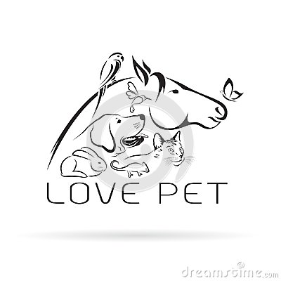Free Vector Group Of Pets - Horse, Dog, Cat, Bird, Butterfly. Royalty Free Stock Photo - 101979535
