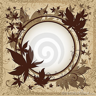 Vector grunge background with Autumn Leafs.