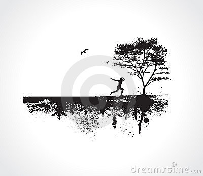 Vector Grunge background with Jumping Girl