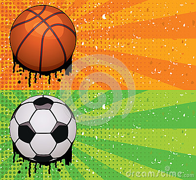 vector grunge basketball and soccer backgrounds