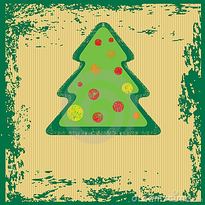 Vector grunge Christmas tree