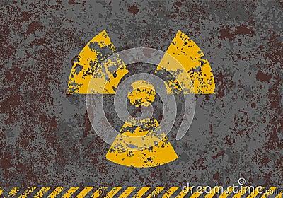Vector grunge illustration of radiation sign