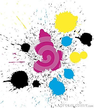 Vector grungy colorful CMYK paint drops