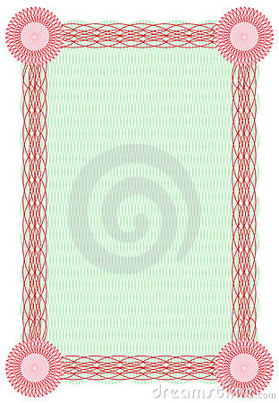 Vector guilloche green and red border for diploma