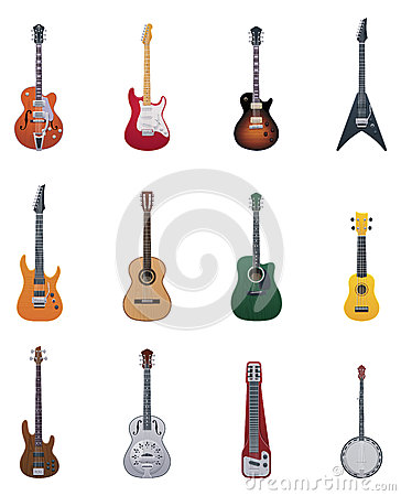 Free Vector Guitars Icon Set Royalty Free Stock Images - 29208269